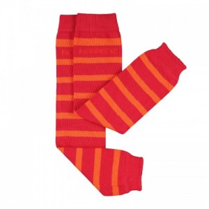 Jambiere Hoppediz din bumbac organic - Red/Orange stripes