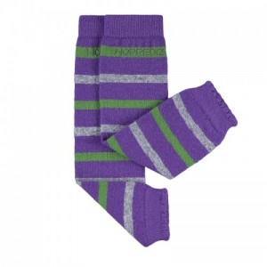 Jambiere Hoppediz din lână Merino și cașmir - Lilac with Grey and Green Stripes