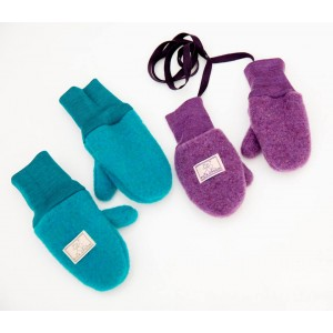 Mănuși din lână merinos organică fleece - Pickapooh - Turquoise
