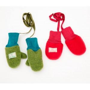 Mănuși din lână merinos organică fleece - Pickapooh - Verde
